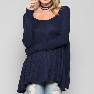 Tops - Waffle Knit Long Sleeve Thermal Relaxed Flowy Top